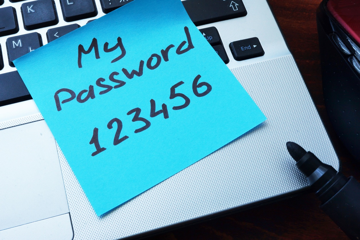 My password 123456 written on a paper with marker