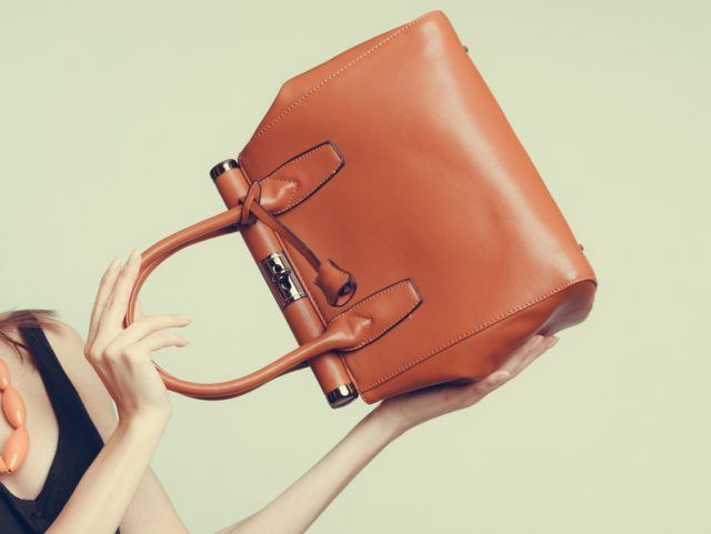 Stylish girl holding a brown handbag
