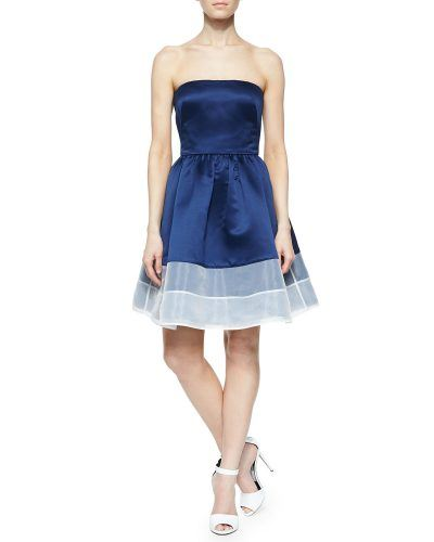 Erin Fetherson Strapless Colorblock Cocktail Dress