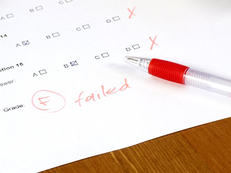 Failed test - school, college or university