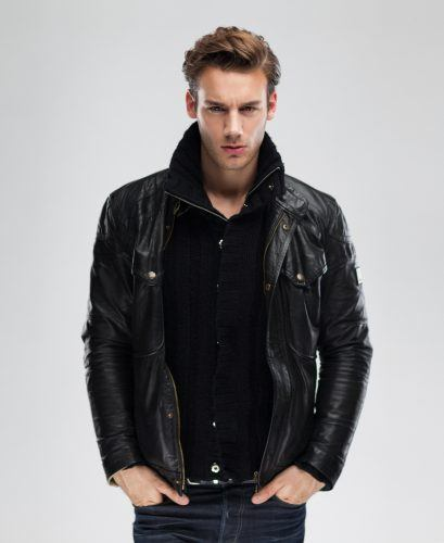 man wearing leather jacket