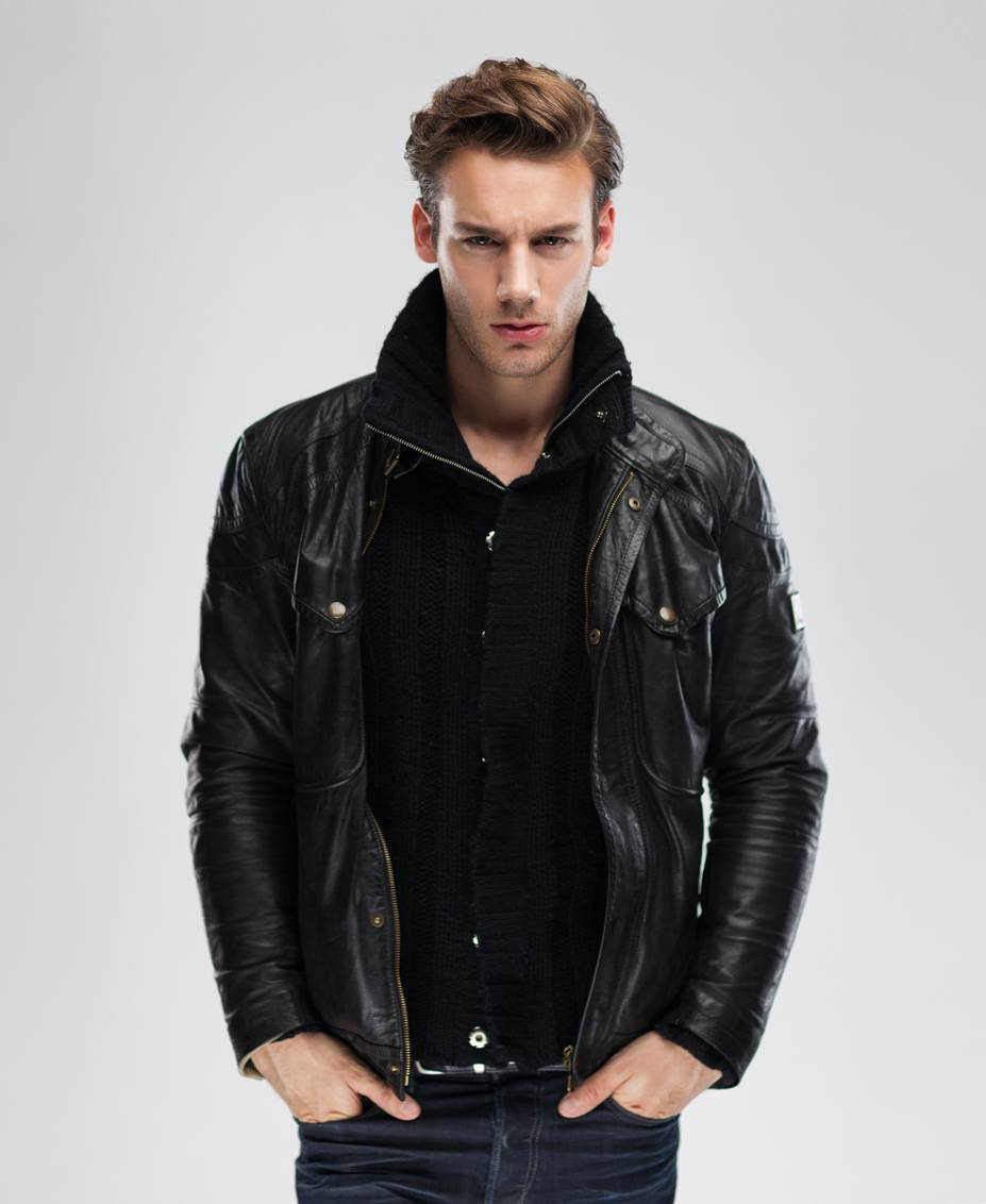 Handsome serious beauty male model portrait wear leather jacket