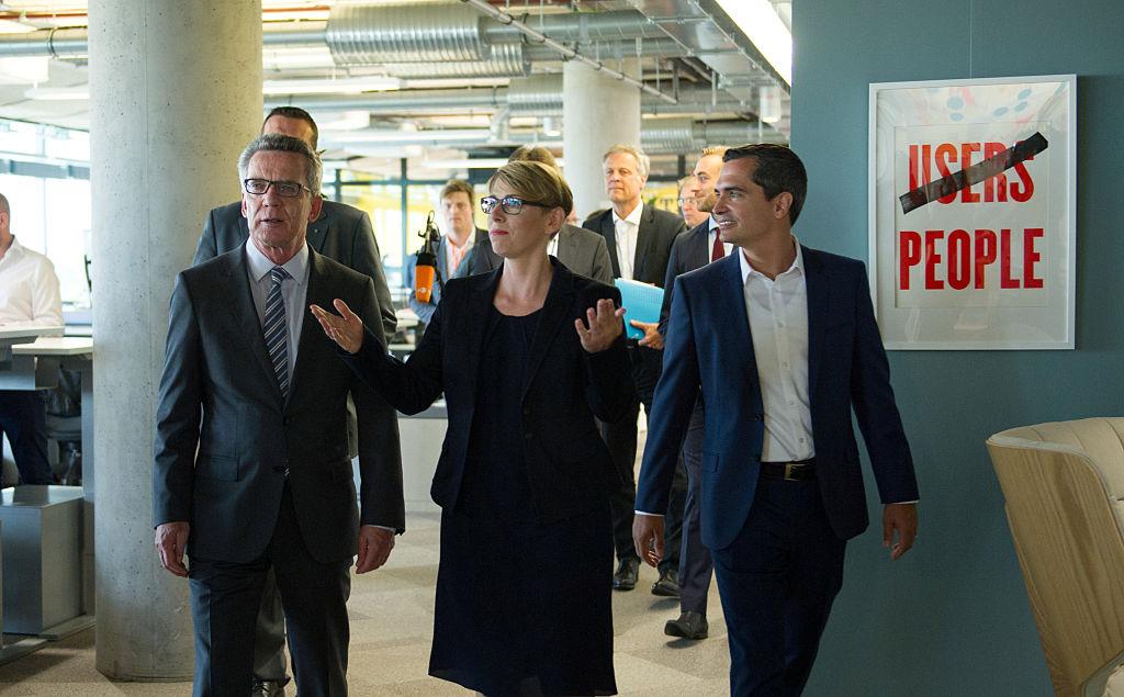 German Interior Minister Thomas de Maiziere, Eva- Maria Kirschsieper, Facebook head of public policy D-A-CH
