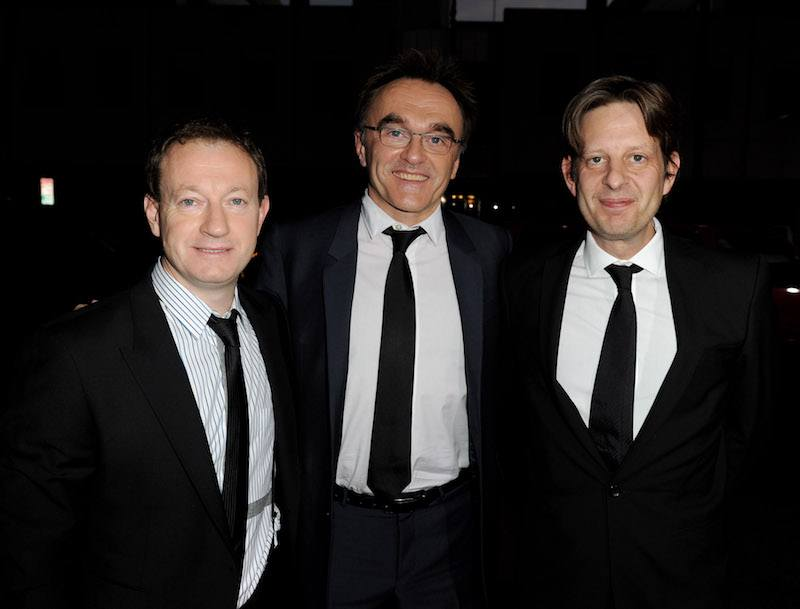 Simon Beaufoy, Danny Boyle, Christian Colson   Kevin Winter/Getty Images