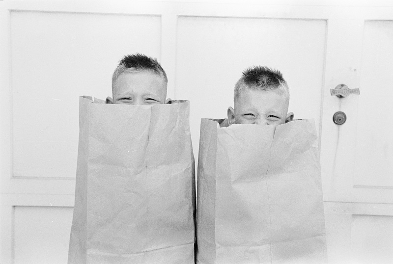 Identical twins Bobby and Jerry enjoy hiding in paper bags
