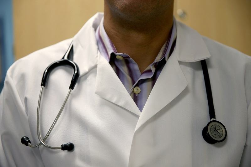 A doctor wearing a stethoscope
