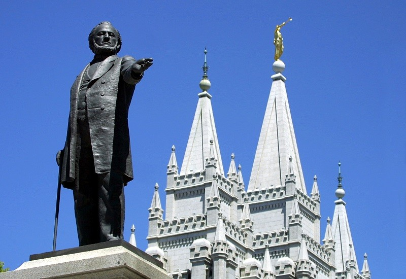 A statue of Brigham Young, second president of the Church of Jesus Christ of Latter Day Saints stands in the center of Salt Lake City -- where religion plays a significant role in the existing pay gap