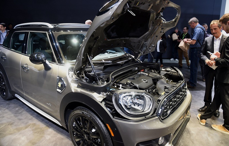 View of the plug-in hybrid 2017 Mini Cooper Countryman with the hood open