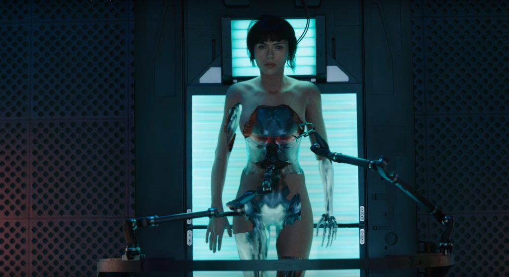 Scarlett Johansson as a cyborg in Ghost in the Shell