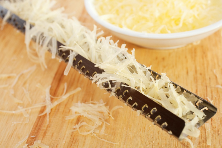 parmesan cheese and a microplane rasp grater