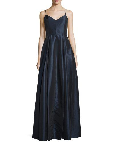 Halston Heritage Sleeveless V-Neck Ball Gown