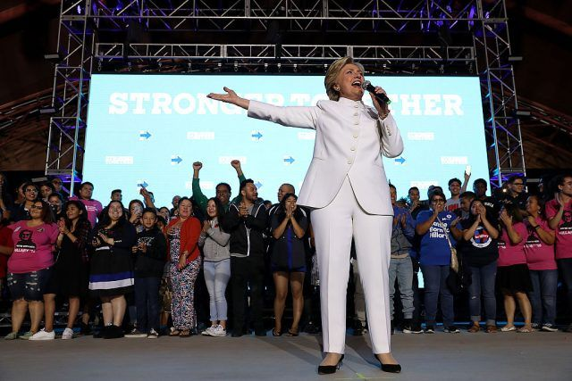 Hillary Clinton speaking to a crowd