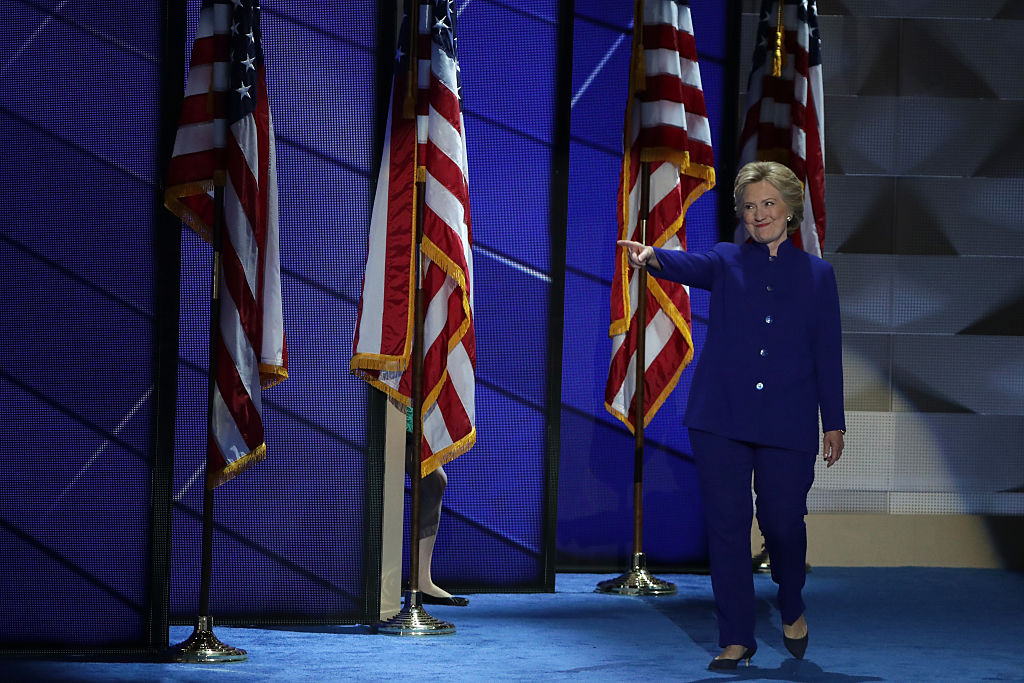 Hillary Clinton walking on stage