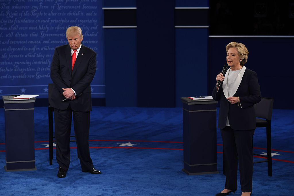 Donald Trump and Hillary Clinton on stage