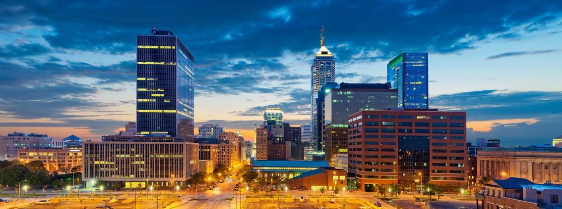 Indianapolis, Indiana skyline at sunset
