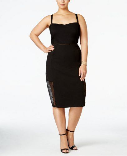 Lace-inset bodycon dress