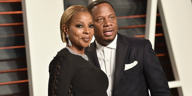 Mary J. Blige and Kendu Isaacs attend the 2016 Vanity Fair Oscar Party