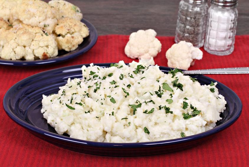 Mock mashed potatoes garnished with parsley