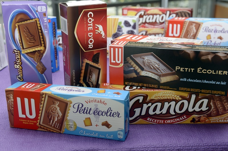 Boxes of biscuits displayed at the food-processing plant of American multinational confectionery, food and beverage conglomerate Mondelez International's brand LU   Jean-Pierre Muller