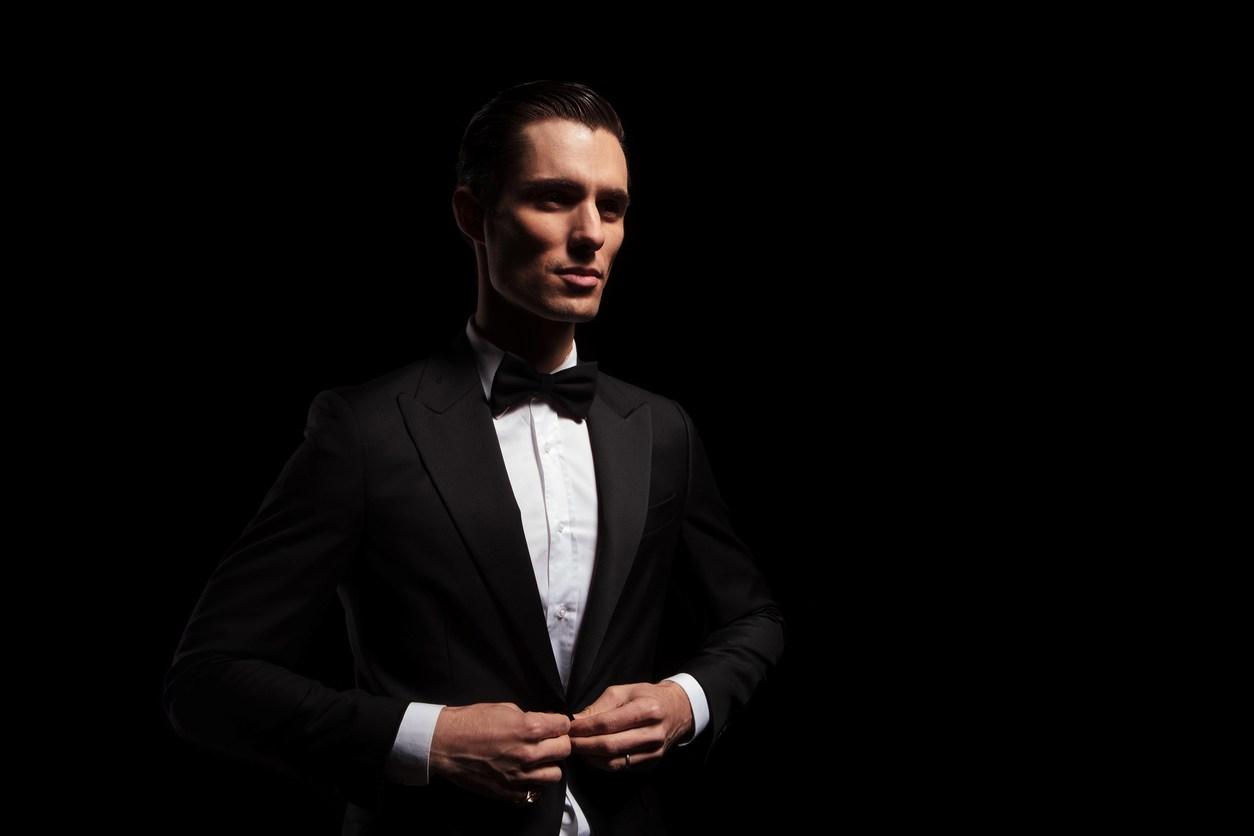 attractive model in black tux