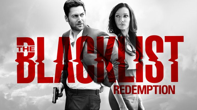 The Blacklist: Redemption logo with the stars of the show in the backgroung