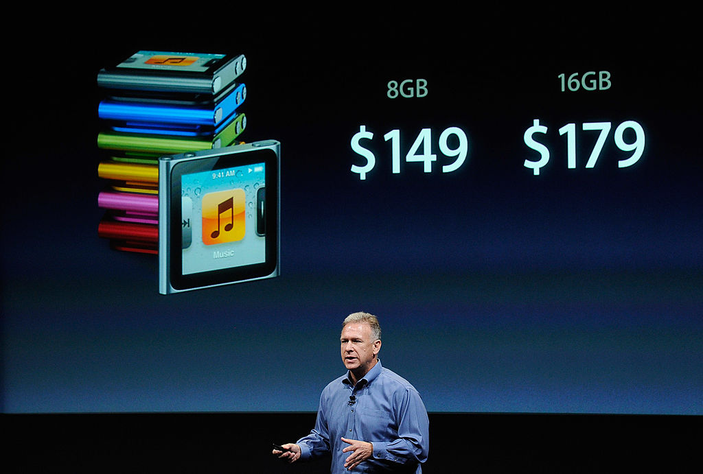 Phil Schiller speaks about the iPod Nano during introduction of the new iPhone 4s