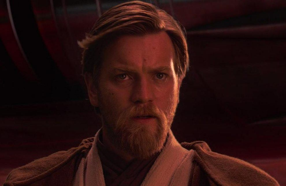 Obi Wan Kenobi looking to the right of the frame