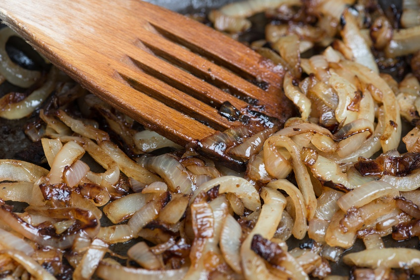 Onions caremelizing in frying pan