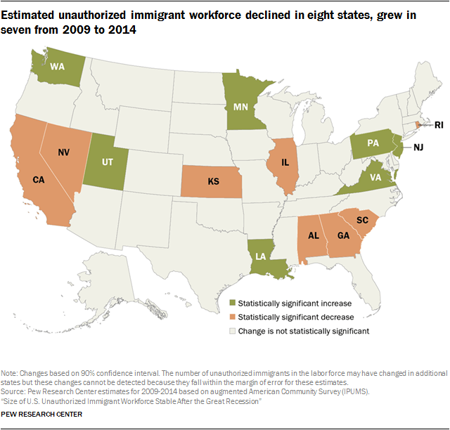 States with growing and declining illegal immigrant populations