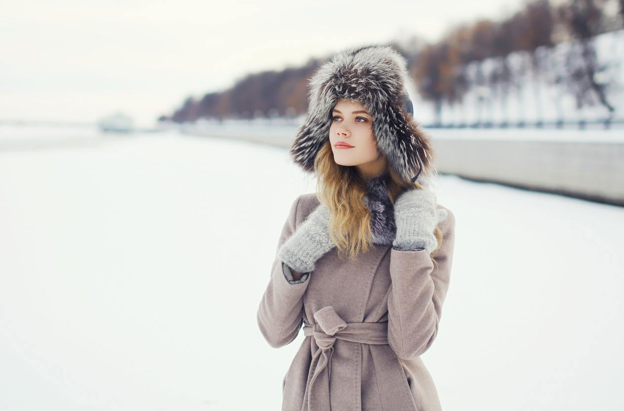 beautiful woman dressed a coat and fur hat