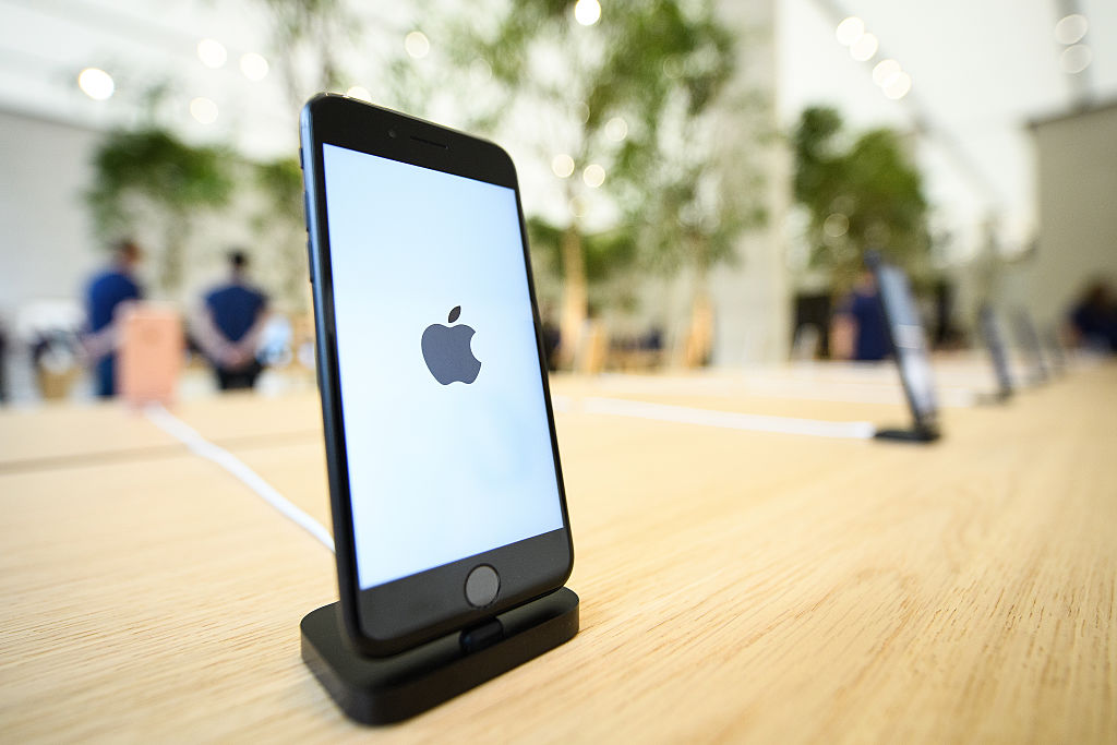 An Apple iPhone 7s is seen in the upgraded Apple store on Regent Street