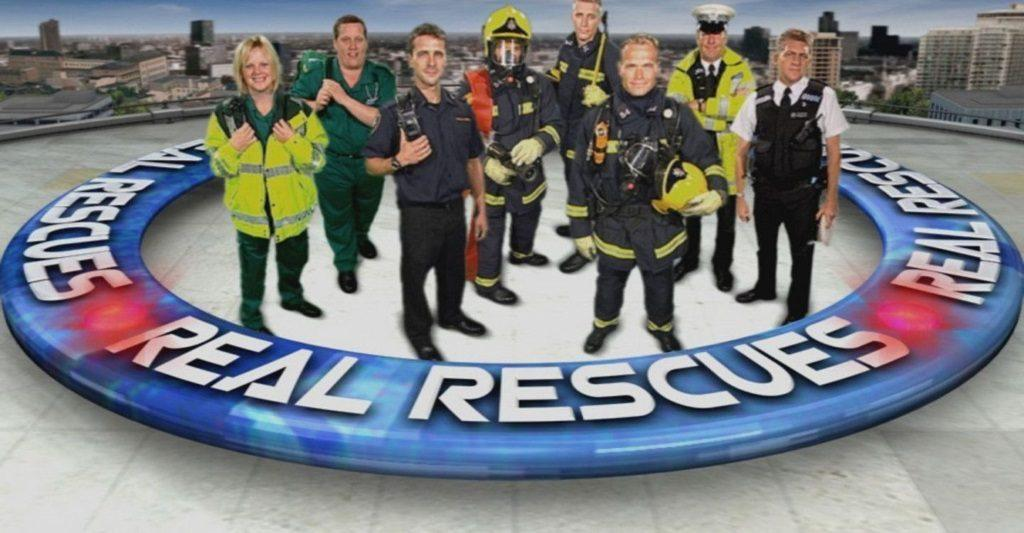 Eight emergency responders stand in front of a city backdrop in poster for Real Rescues