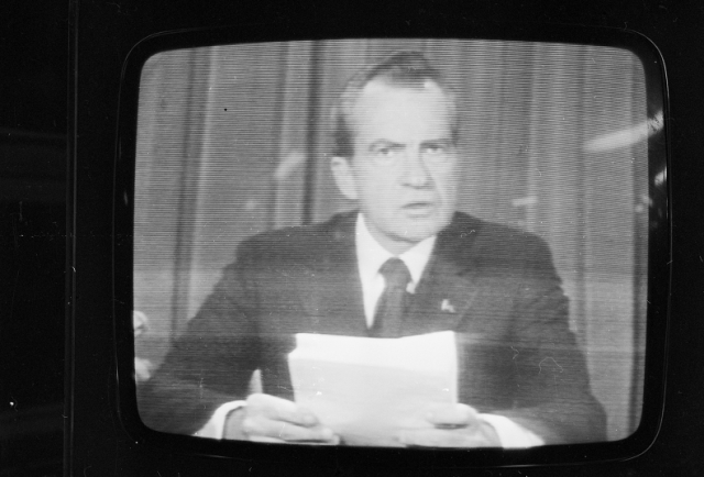 American president Richard Nixon (1913 - 1994) announces his resignation on national television, following the Watergate scandal