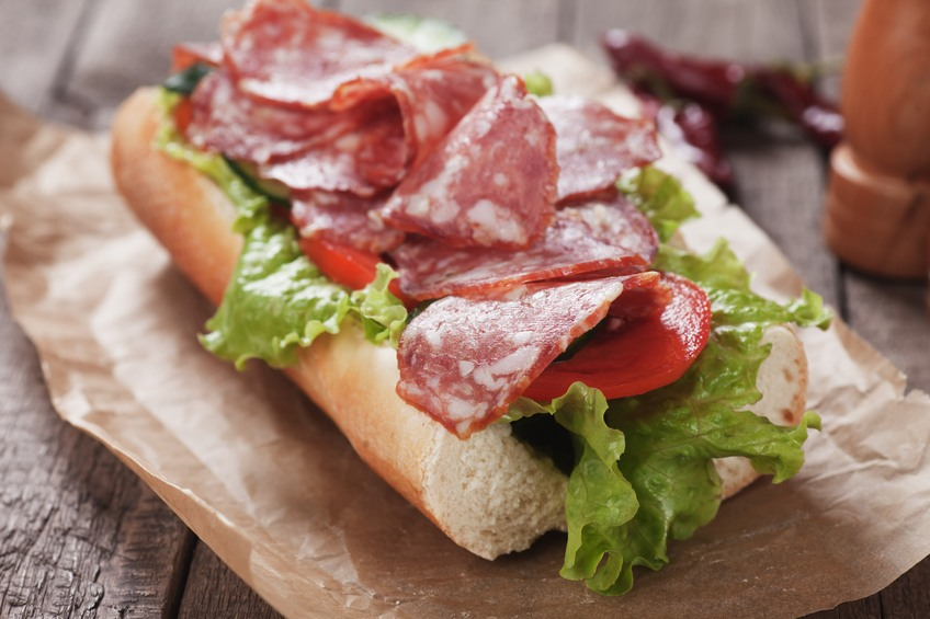Submarine sandwich with italian sausage