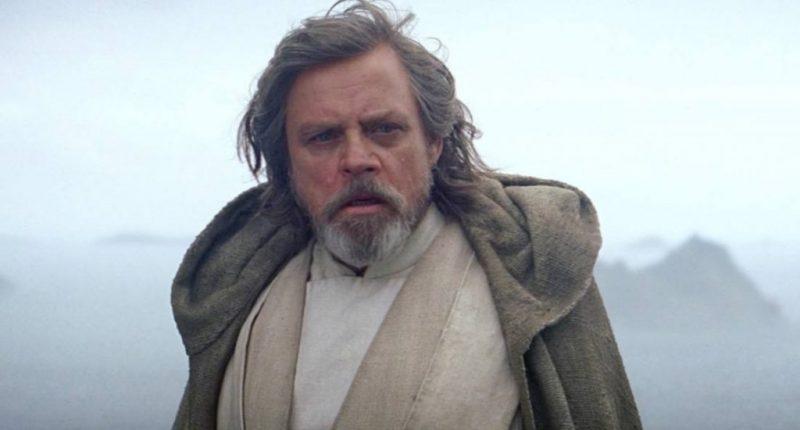 Luke Skywalker at the end of Star Wars: The Force Awakens