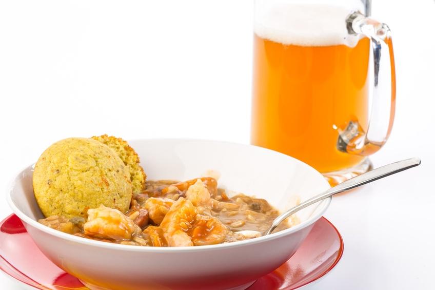 Bowl of sausage and shrimp gumbo