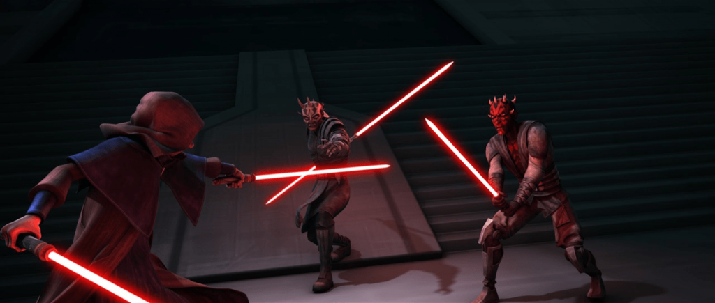 Maul and his brother Savage fight Palpatine