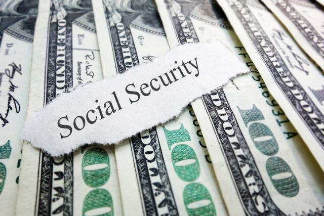 Social Security newspaper scrap on money
