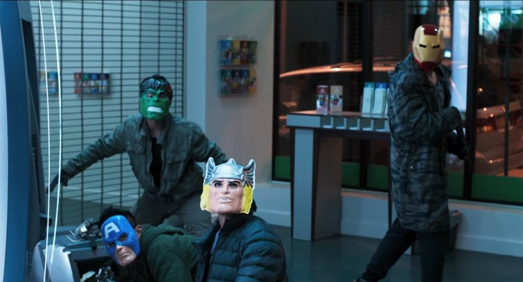 Criminals wearing Avengers masks in Spider-Man: Homecoming