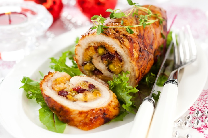 Turkey breast stuffed with cranberry