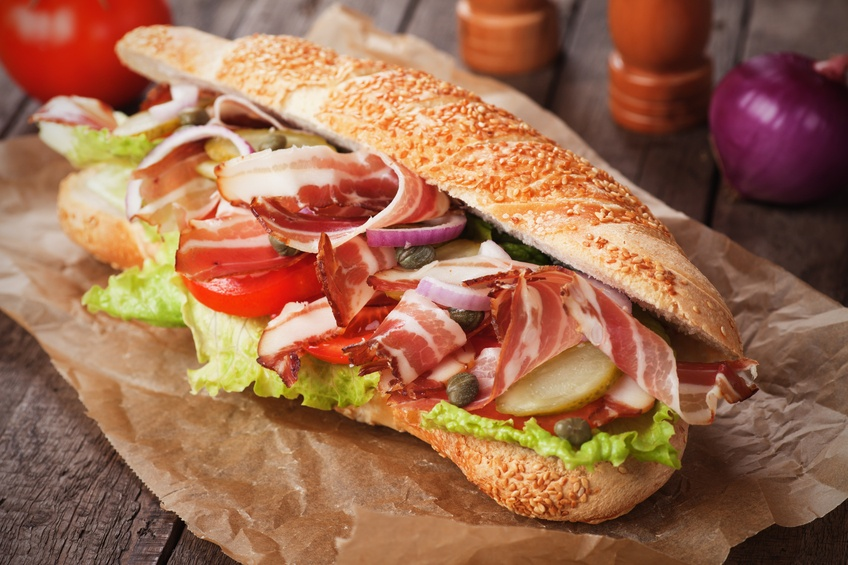 Submarine sandwich with bacon