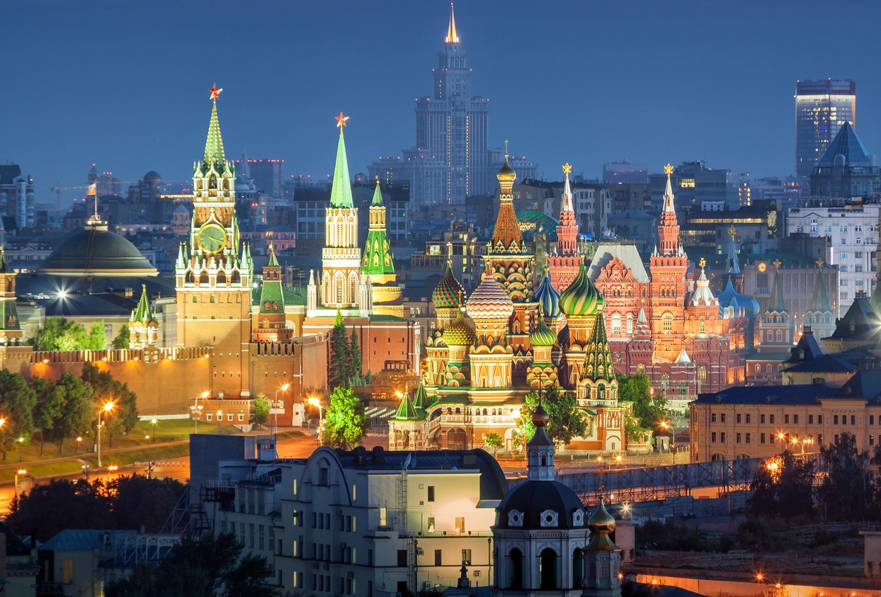 The Kremlin in Moscow illuminated at night