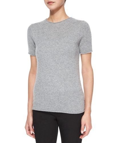 Theory Tolleree Short-Sleeve Cashmere Sweater