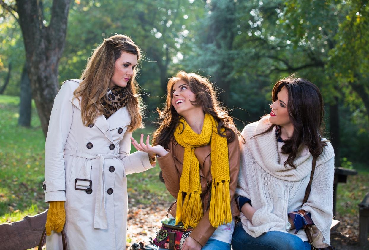 Three beautiful women talking and enjoying