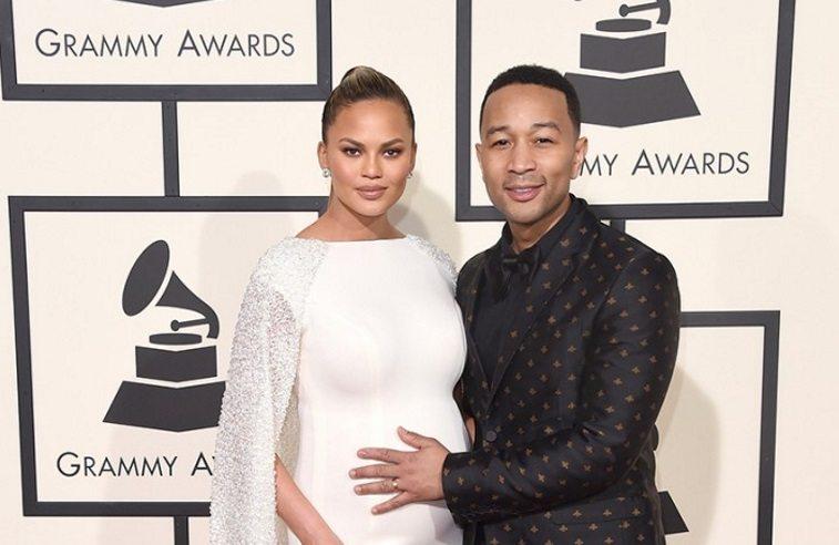 John Legend and Chrissy Tiegen at the 2016 Grammy awards