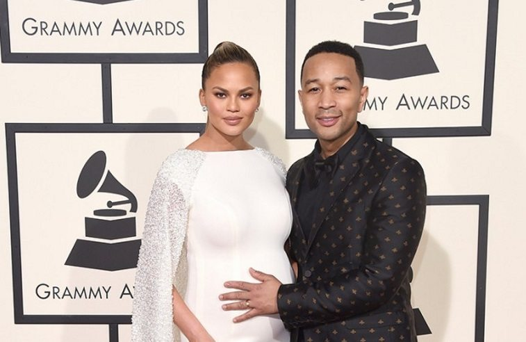 John Legend and Chrissy Tiegen at the 2016 Grammy awards