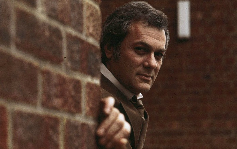 Tony Curtis peeks out from behind a brick wall while wearing a brown suit