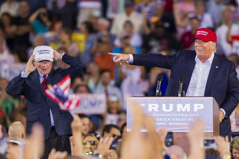 MOBILE, AL- AUGUST 21: U.S. Republican presidential candidate Donald Trump introduces Alabama Senator Jeff Sessions (R) Mobile during his rally at Ladd-Peebles Stadium on August 21, 2015 in Mobile, Alabama. The Donald Trump campaign moved tonight's rally to a larger stadium to accommodate demand. (Photo by Mark Wallheiser/Getty Images)