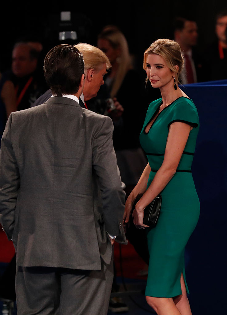 Republican Presidential nominee Donald Trump (C) is joined by his daughter Ivanka Trump