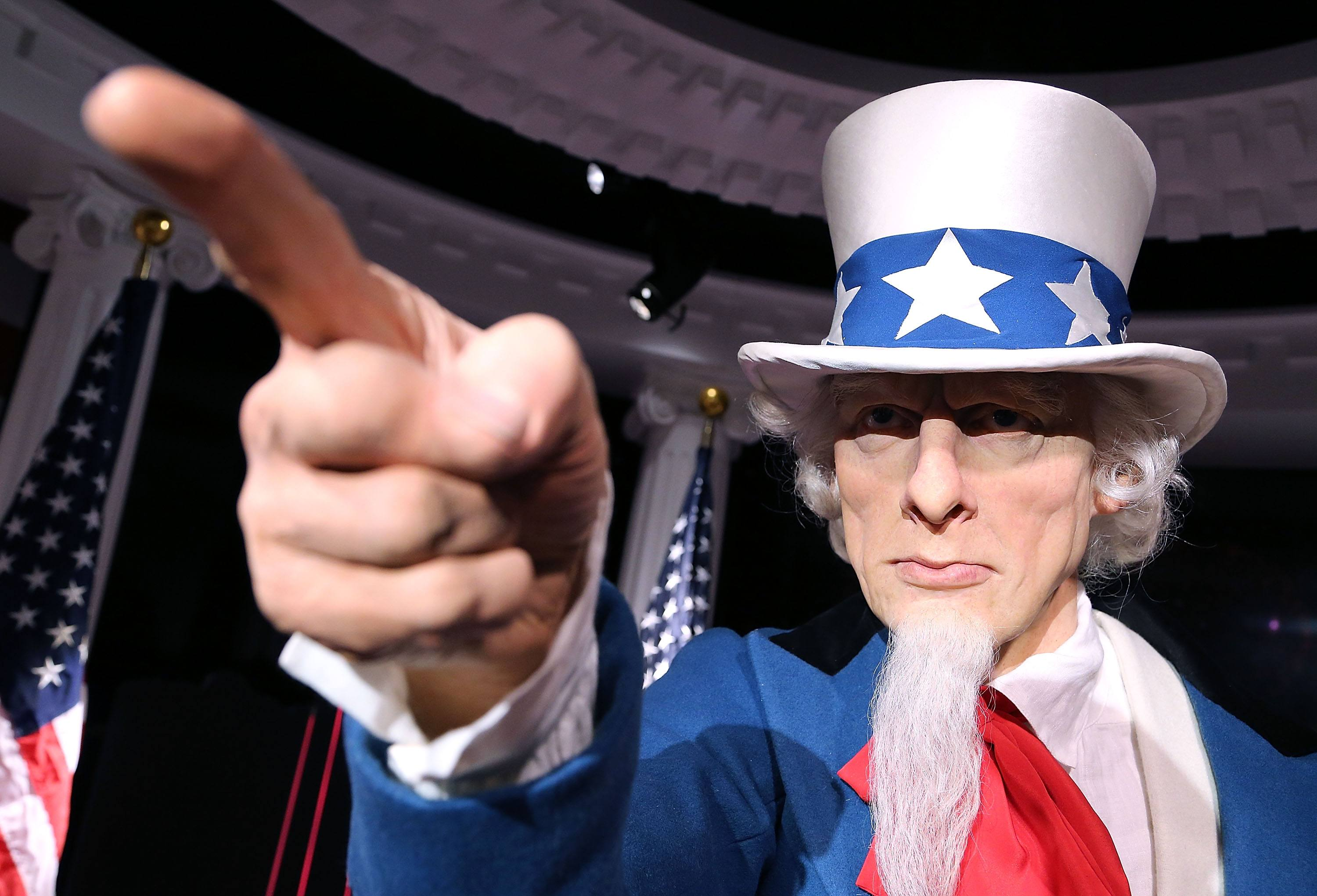 A wax replica of Uncle Sam